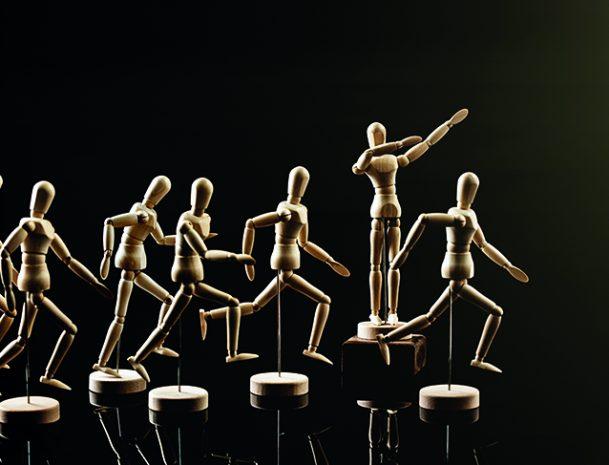 Several wooden art mannequins