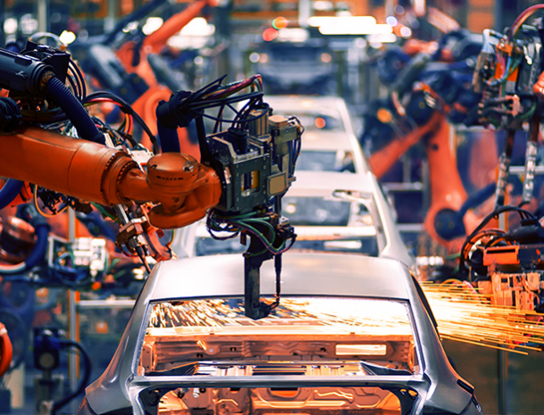 car production line robot welding
