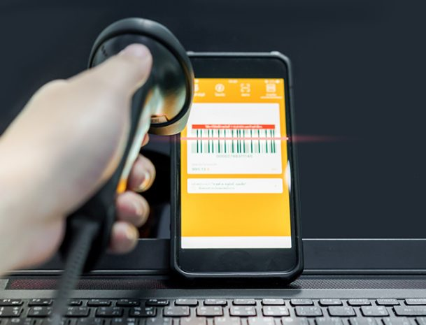 Barcode on mobile phone being scaned
